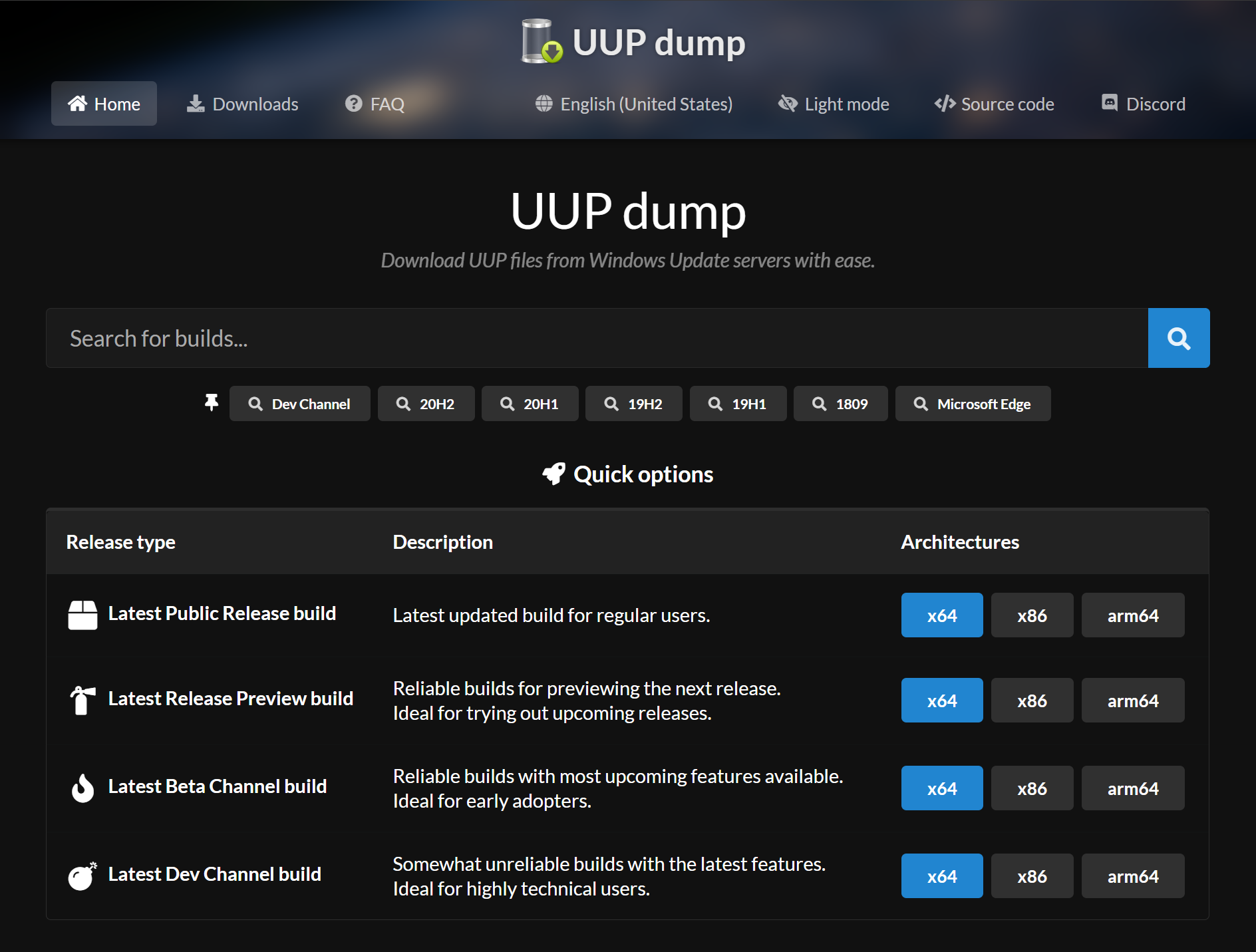 The UUPdump website Welcome Page