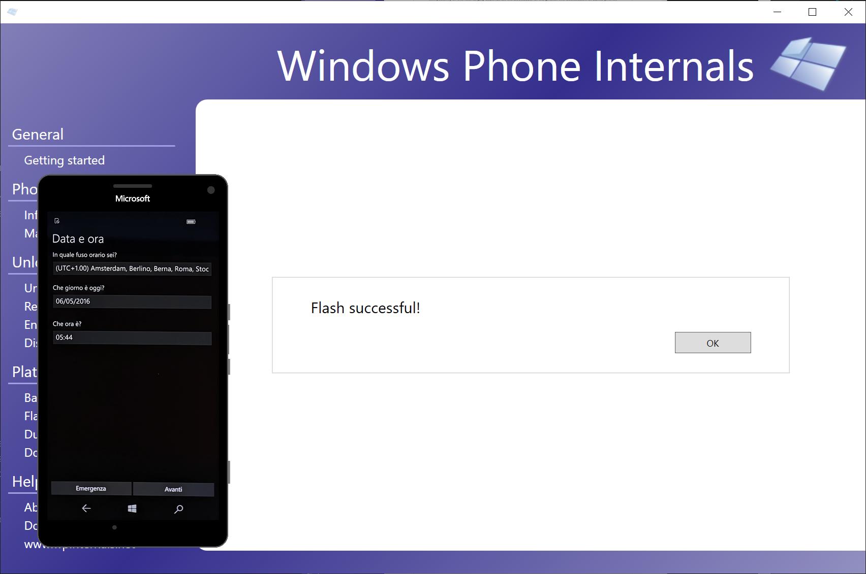 WPInternals has completed the flash procedure