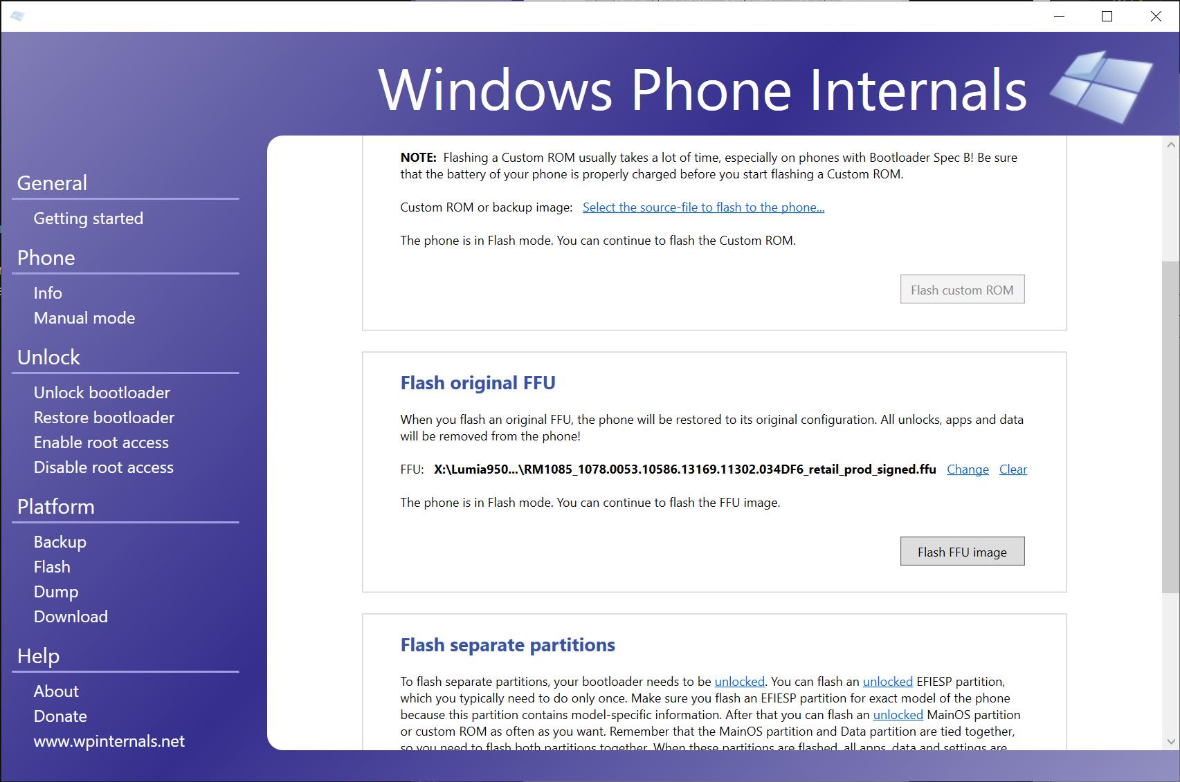 WPInternals flash page
