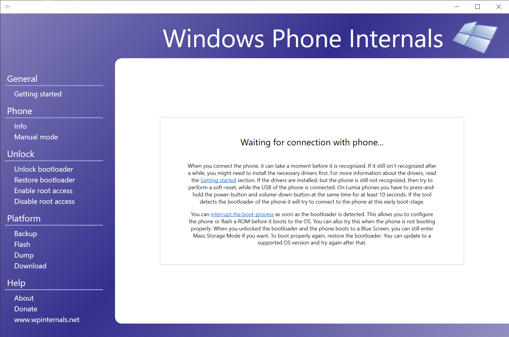 WPInternals page for phone detection