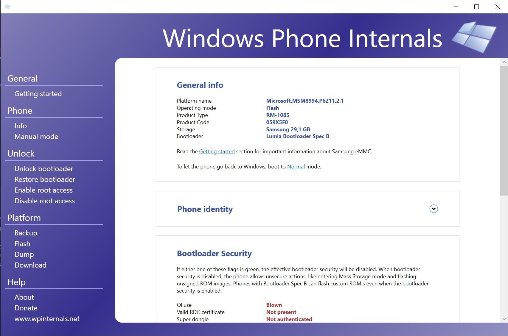 WPInternals showing phone details