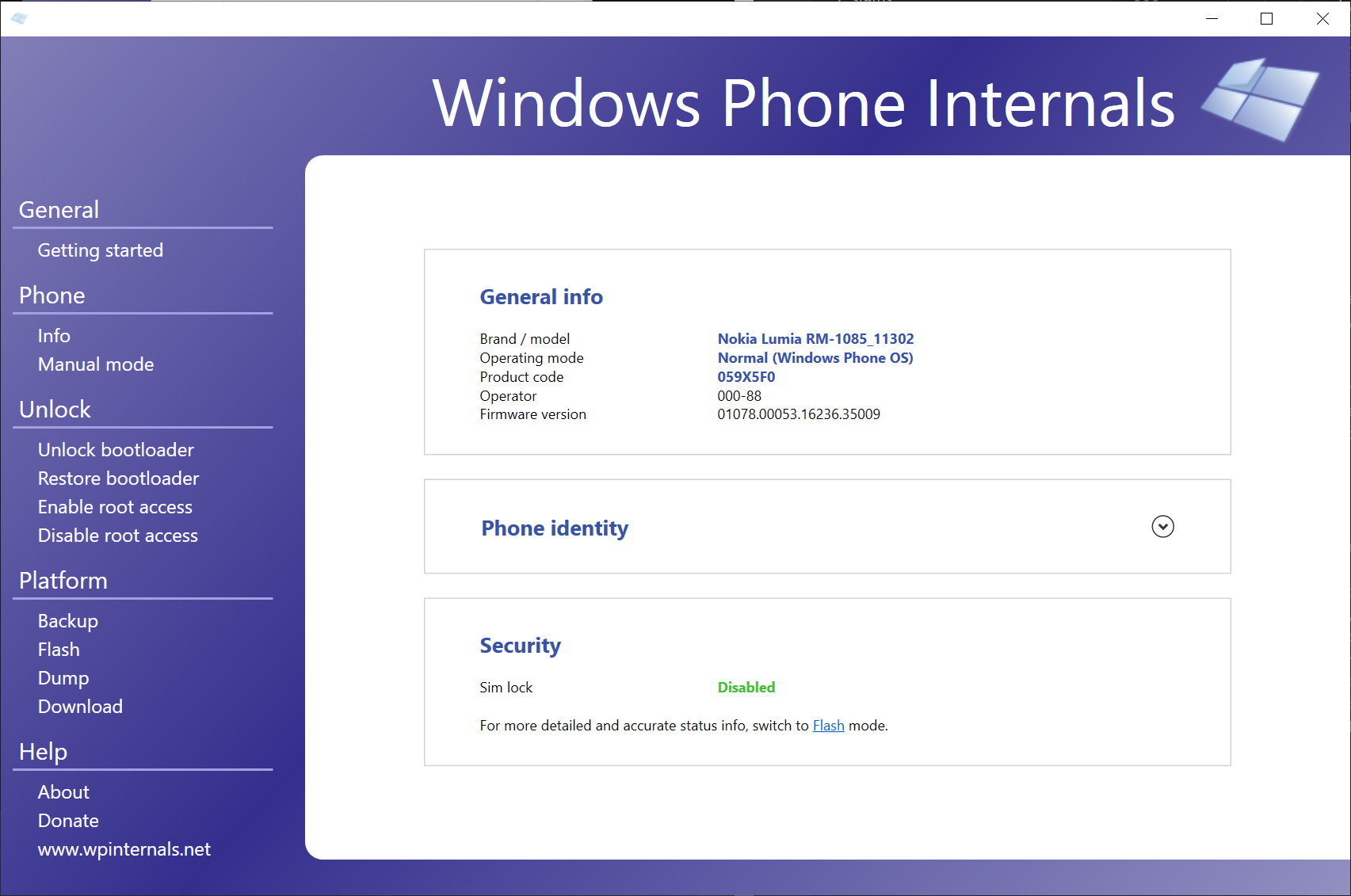 The WPInternals device info page