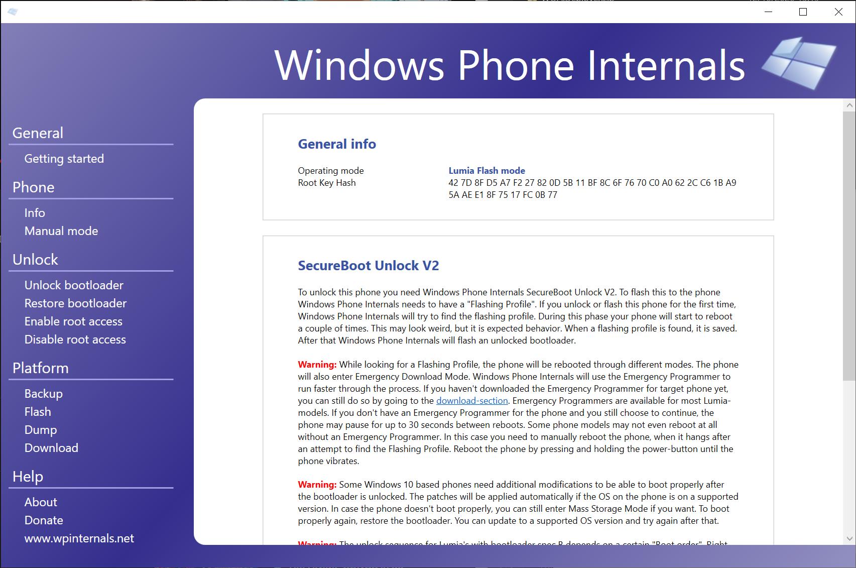 The WPInternals unlock page