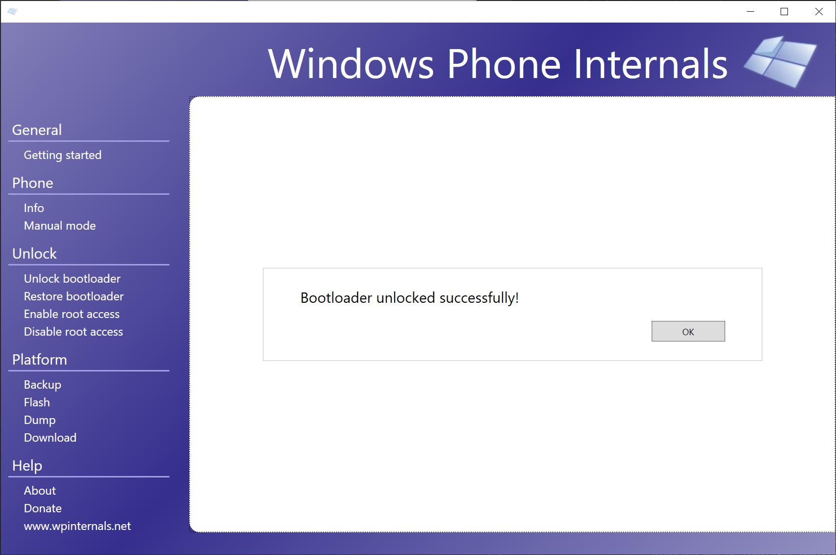 WPInternals completed the unlock procedure