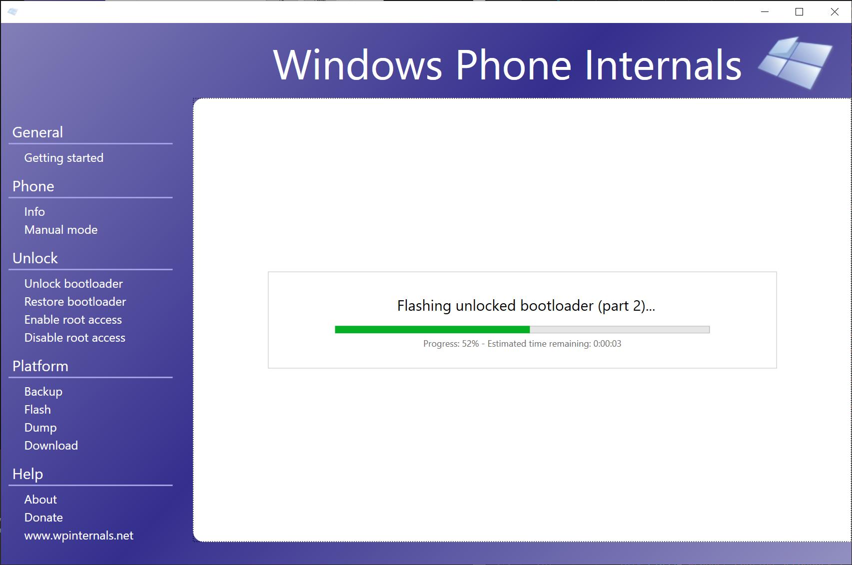 WPInternals unlocking the bootloader